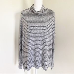 Lucky Brand Striped Relaxed Turtleneck Hi-Lo Hem
